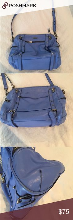 Rebecca Minkoff Cupid purse Super cute periwinkle blue full size Cupid bag by Rebecca Minkoff.  Slight discoloration at seam as seen in pic but no other visible spots or discoloration.  16 inches wide by 10 inches tall by 7.5 inches deep. Rebecca Minkoff Bags Crossbody Bags