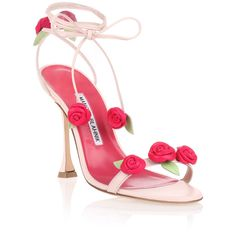 Manolo Blahnik Xafiore Pink Leather Rose Sandal (56,400 DOP) ❤ liked on Polyvore featuring shoes, sandals, heels, pink, pink shoes, leather sandals, high heeled footwear, leather heeled sandals and pink heeled sandals