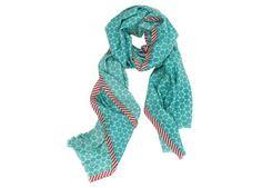 Wollen sjaal in turquoise met stippen en rode tape van Pip Studio :: Le Goût des Couleurs producten - Webshop