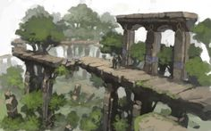 View an image titled 'Ruined Bridge Concept Art' in our Final Fantasy XIV: A Realm Reborn art gallery featuring official character designs, concept art, and promo pictures. Landscape Concept, Fantasy Landscape, Landscape Art, Watercolor Landscape, Landscape Paintings, Landscapes, Fantasy Concept Art, Game Concept Art, Fantasy Art