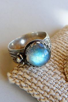 Labradorite Mood Ring with Oxidized Sterling Silver by pmdesigns09