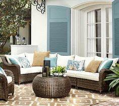 Torrey All-Weather Wicker Roll Arm Sectional Set #potterybarn