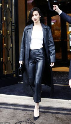 Style star: Bella Hadid showcased her enviable style as she spotted leaving the Four Seasons Hotel George V in the French capital on Saturday
