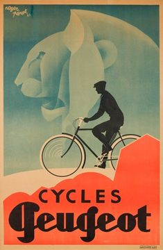 Cycles Peugeot poster by Roger Perot from around 1931. This thing has it all - nice type, design AND illustration.