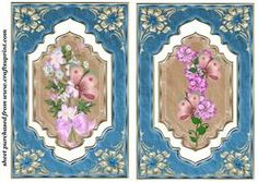 2 Blue Floral Butterfly Dangler Card Fronts