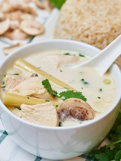 I'd take this homemade Tom Kha Gai (coconut chicken soup) over take out any day! It's creamy from the coconut milk & has a nice back heat from the cayenne!