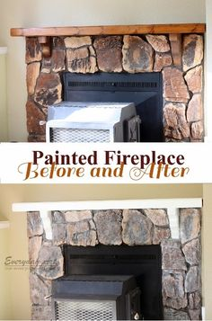 AMAZING tutorial on painting a dark stone fireplace to look ...