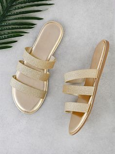 Designer Clothes, Shoes & Bags for Women Slip On Sandals Outfit, Gold Strappy Sandals, Trendy Sandals, Shoes Flats Sandals, Glitter Sandals, Cute Sandals, Metallic Sandals, Gold Shoes, Strap Sandals