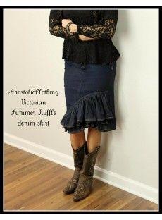Long Modest Denim Jean Skirts for Women (3) - Apostolic Clothing