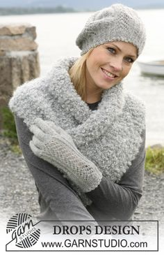 "A set of: DROPS beret and gloves with lace pattern in ""Alpaca"", and scarf in ""Puddel"". ~ DROPS Design"