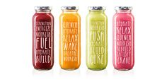 Raw on Behance, the clear bottles allow the natural colour of the bottles to shine through and create this  sense of vibrancy and healthiness, whilst the typo is simple and playful creating a youthfulness