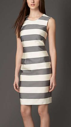 Striped Silk Blend Dress Burberry