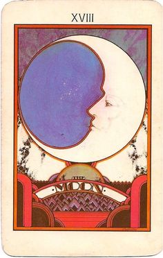 """Moon card from the 1970's Aquarian Tarot deck. Beautifully illustrated by David Palladini, who also did illustration for Stephen King's """"The Eyes of the Dragon"""" in the 80's."""