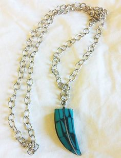 Tusk necklace  turquoise howlite pendant & reclaimed by thisOutfit, $25.00