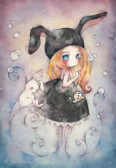 Alice au pays de merveilles, aquarelle de Juri Ueda.