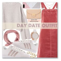 """Day Date"" by kueenly ❤ liked on Polyvore featuring Topshop, MANGO, adidas, CÉLINE, GUESS, Cartier, Olivia Burton, Folli Follie, cute and love"