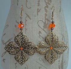 Bronze Filigree Earrings with Orange Beads by Carina Boutique