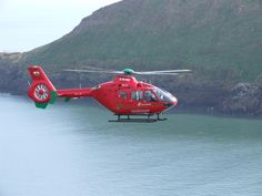 Wales Air Ambulance flying over the Gower.