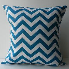 New 18x18 inch Designer Handmade Pillow Case in turquoise blue chevron pattern.