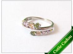 Inel argint rodiat cu zirconia multicolor