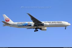 Japan Airlines - JAL (JP) Boeing 777-346(ER) JA733J aircraft, painted in ''Jet-Kei'' special colours Mar. 2016, with the sticker ''UNICEF'' at tales end & with the ''Tsurumaru=Crane circle''  livery, on short final to USA  Chicago O'Hare International Airport. 17/04/2016. (Kei Nishikori=a tennis profesional player No 5).