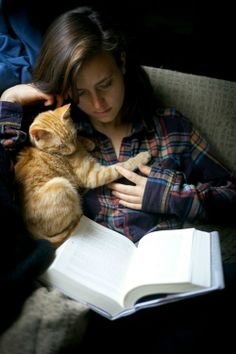 Restful places become even more rest and peace filled with a cat or dog friend beside you. -DdO:) - http://www.pinterest.com/DianaDeeOsborne/restful-places/ - sweet photo of girl and yellow tiger kitten asleep over the book pinned via reportergal.
