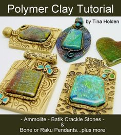 Ammolite & Crackle Veneers with Pendants - ~$18USD.  #Polymer #Clay #Tutorials