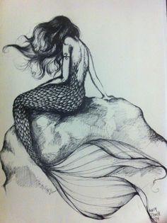 mermaid sketch for mu mermaid tattoo idea:) Mermaid Sketch, Mermaid Drawings, Art Drawings, Mermaid Artwork, Mermaid Pinup, Mermaid Hair, Pencil Drawings, Mermaid Paintings, Mermaid Tail Drawing