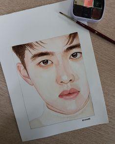 Kpop Drawings, Cool Art Drawings, Art Drawings Sketches, Pink Drawing, Exo Fan Art, Oil Pastel Art, Kpop Fanart, Art Sketchbook, Portrait Art