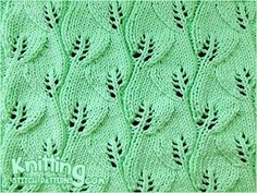 Overlapping Leaves stitch - Very beautiful!! I think it would be lovely in a scarf, just add 4 to 6 sts of garter stitch to each edge so the reverse stockinette doesn't roll.