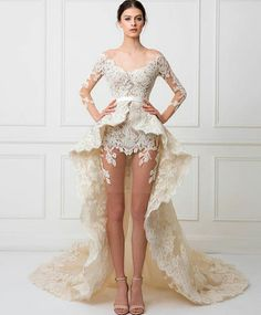 2017 Design Robe De Mariee V Neck Appliqued Lace Mini Length Summer Wedding Dresses with Overskirt Bridal Dresses, Prom Dresses, Couture Dresses, Sienna, Beautiful Wedding Gowns, Bridal Collection, Designer Dresses, Marie, Lace Dress