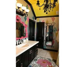 unique.  I'm thinking a girly bathroom - love the black accents