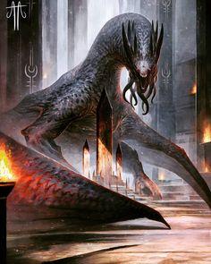Monster Concept Art, Fantasy Monster, Monster Art, Anime Fantasy, Dark Fantasy Art, Fantasy Artwork, Mythical Creatures Art, Mythological Creatures, Magical Creatures