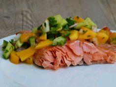 slow roasted salmon with mango-cucumber salsa