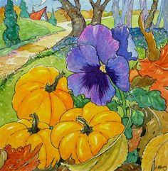 """""""The Pansy Who Thought She Was a Pumpkin Storybook Cottage Series""""  © Alida Akers"""