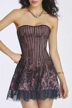 Vestido de empalme con cordones de las mujeres dulces del cordón sin tirantes de Bodycon