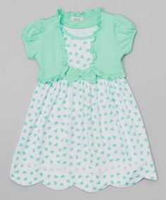 Look at this Littoe Potatoes Mint Hearts Bow Dress & Shrug - Infant, Toddler & Girls on #zulily today!
