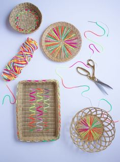 Yarn Embroidered Baskets by Haeley Giambalvo