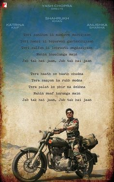 The poster of Yash Chopra's new movie Jab Tak Hai Jaan is out. The poster with a rugged-looking Shah Rukh Khan on a bike and Hindi poetry took us back in time, temporarily. Do you like this Jab Tak Hai Jaan poster? Bollywood Quotes, Bollywood Songs, Bollywood Actors, Bollywood News, Bollywood Posters, Romantic Dialogues, Movie Dialogues, Romantic Films, Shah Rukh Khan Quotes
