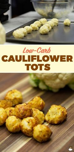These Baked Cauliflower Tots are a perfect low-carb snack or side dish. These Baked Cauliflower Tots are a perfect low-carb snack or side dish. Comida Diy, Cauliflower Tots, Paleo Cauliflower Recipes, Cauli Tots, Low Carb Califlower Recipes, Cauliflower Side Dish, Cauliflower Casserole, Roasted Cauliflower, Healthy Snacks
