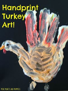 Thanksgiving handprint turkey craft for kids. Use shaving cream for a DIY puff paint sensory art activity.