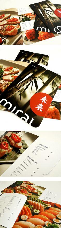 mirai japanese cuisine by Thais Navarro, via Behance: Japanese Restaurant Menu, Japanese Menu, Bistro Restaurant, Restaurant Menu Design, Restaurant Recipes, Japanese Logo, Brochure Food, Sushi Menu, Lithuanian Recipes