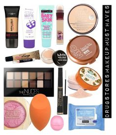 Drugstores Makeup Must Haves by naiomy-melendez-colon on Polyvore featuring polyvore, beauty, Maybelline, Coty, Rimmel, L'Oréal Paris, NYX, Neutrogena and River Island