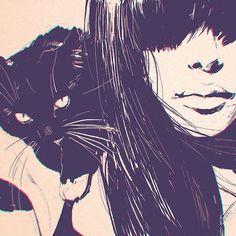 Ilya kuvshinov | black cat | white girl