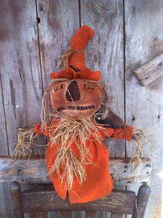 Primitive Folk ARt Extreme Scarecrow Make do makedo doll Orange Coverlet coat #NaivePrimitive