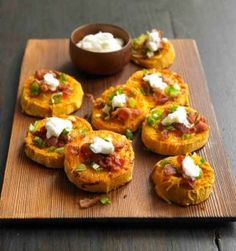 We'll take these sweet potato no-skins over regular potato skins any day of the week! | via @Harriet Adkins Bottomed Girls #recipe
