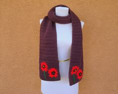 NEW! Purple Scarf - Poppy Scarf for Women - Red Poppies - Red Poppy Scarves - Ladies Scarf, Scarves - Crochet, Crocheted Scarf - Warm Scarf by HoookedHandmade, $47.00