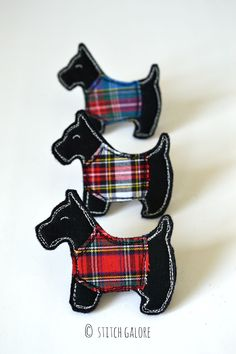 I've made the Scottie dog brooches in black too, wearing their tartan coats xxx