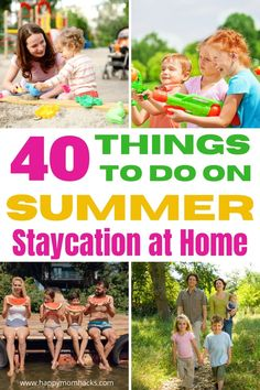 Enjoy a Summer at Home with 40 Staycation Ideas for families. Fun and affordable things to do at home and in your own hometown with kids. So skip the fancy and expensive vacation and have a blast on a family vacation without leaving your home. You're going to be amazed at how much fun you'll have! Indoor Activities For Kids, Travel Activities, Family Activities, Toddler Travel, Travel With Kids, Family Travel, Budget Travel, Travel Tips, Travel Destinations