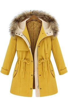 A bright yellow coat for winter